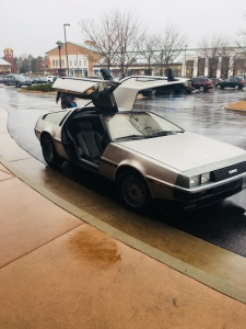 "March 28, 2018 - Littleton, CO : DeLorean parked outside of Alamo Drafthouse Cinema for the first showing of ""Ready Player One"""